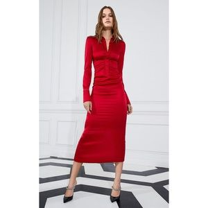 Alexis Candace Dress Silk Red Ruched L
